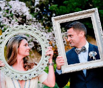 photocall de cuadro para invitados de bodas