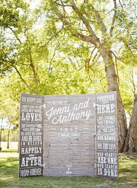 fondo de madera de photocall para bodas